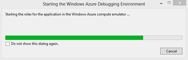 Azure emulator starting