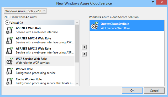 Create Windows Azure service role