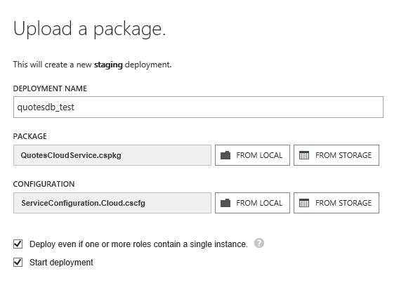 Select cloud service packages for upload