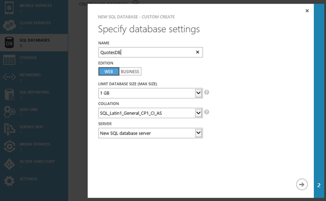Create Azure Database