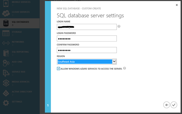 Set Azure DB credentials