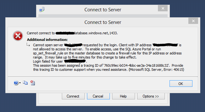 Azure DB connection error