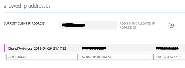 Allow Azure DB client IP addresses