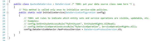 Data Service default code
