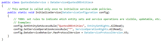 Data service code with entity assigned