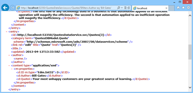Published service queries