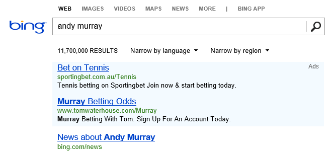 Bing Tennis Results