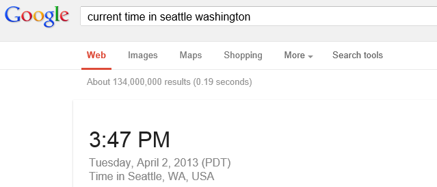Current time Google